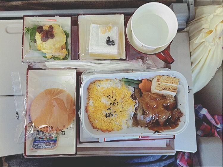 アメリカへ渡航中の機内食