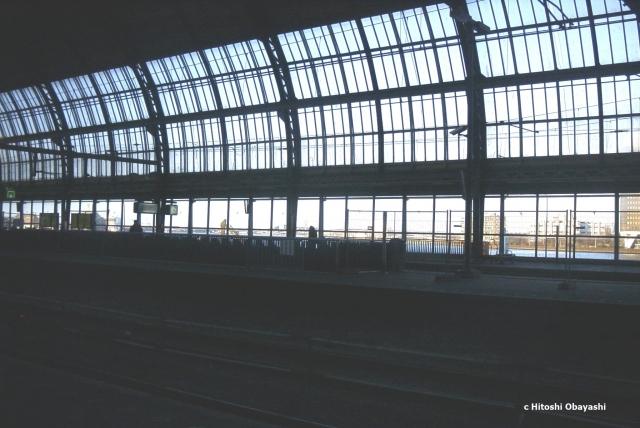 ドーム状の屋根で覆われたアムステルダム中央駅のホーム