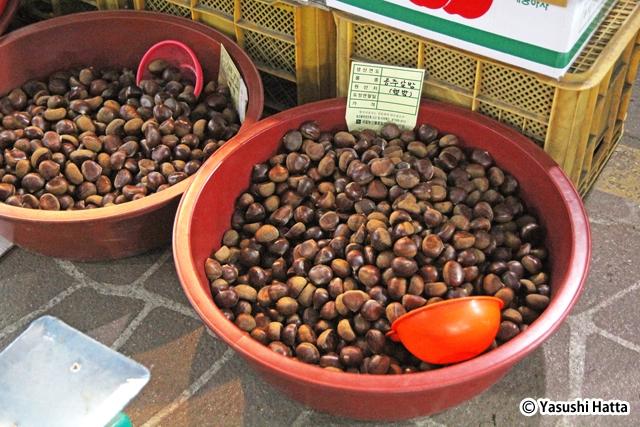 公州山城市場で売られている公州産の栗。公州は生産量も国内屈指