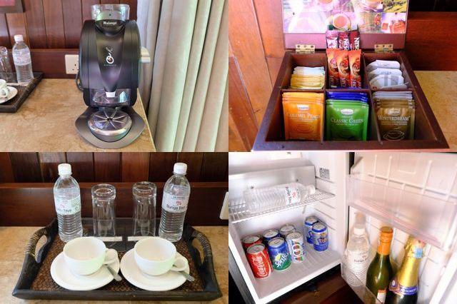 コーヒーメーカー、お茶セット、ミネラルウォーター、冷蔵庫
