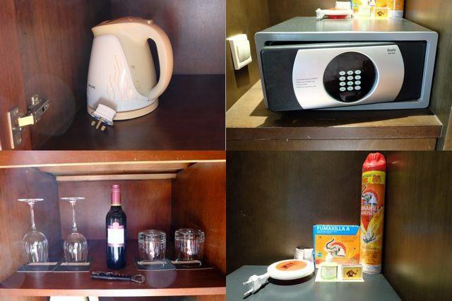 ポット、ワインとグラス、セフティーボックス、殺虫剤