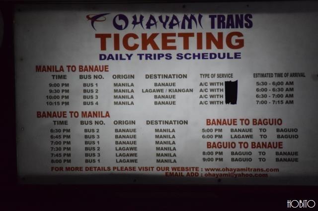 バナウェ行き、バスの時刻表