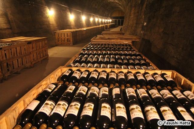 トンネル内にはワインの入ったケースがずらりと並べられている