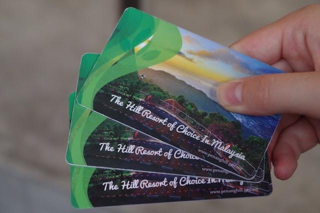ペナンヒルのケーブルーカー乗車チケットは磁気カード