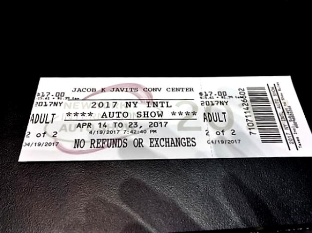 2017NY国際オートショーのチケット。$17で払い戻し不可