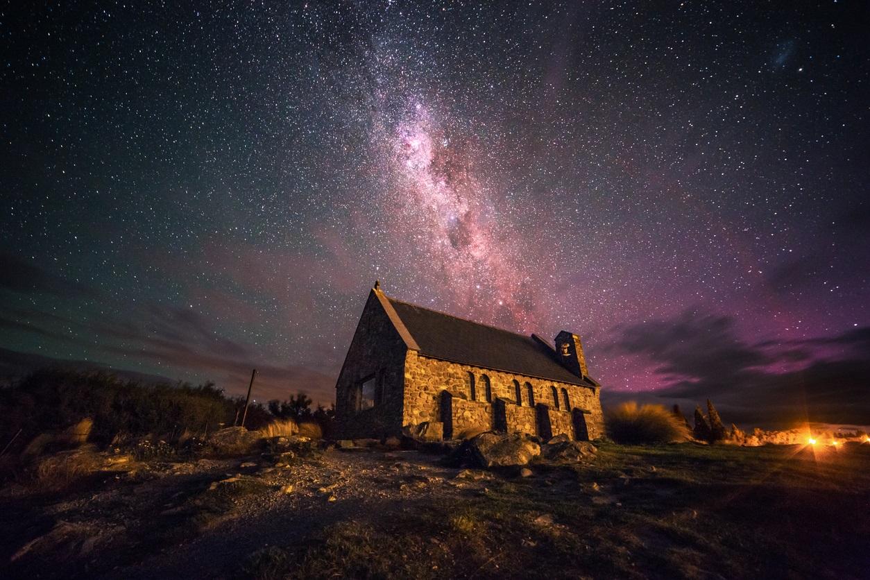 テカポ湖 ニュージーランド 星 オーロラ
